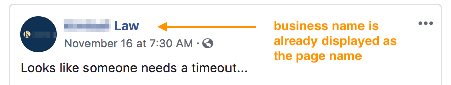 Example of a Facebook Post with an orange arrow pointing at the business name