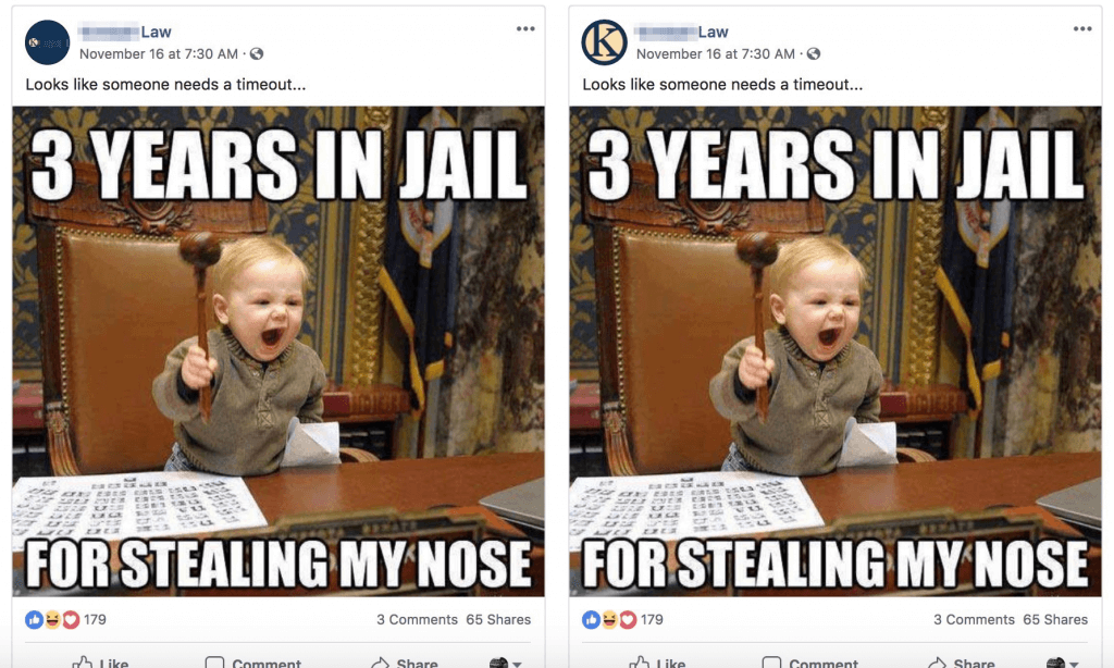 Example of a Facebook post where a baby is holding a law hammer
