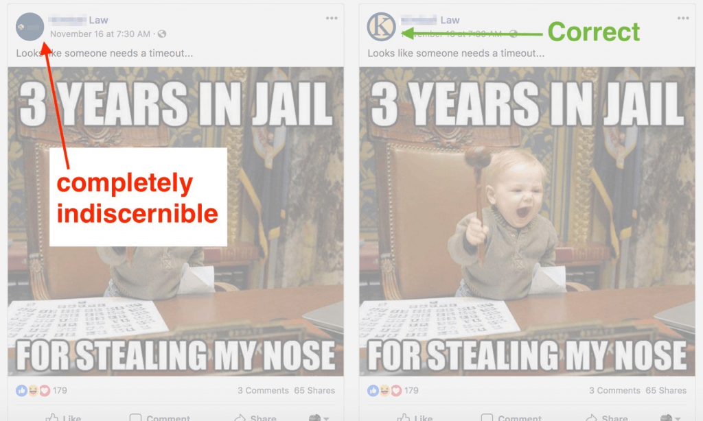 Comparison of two Facebook post with a red arrow pointing at an incorrect post and a green arrow pointing at a correct post