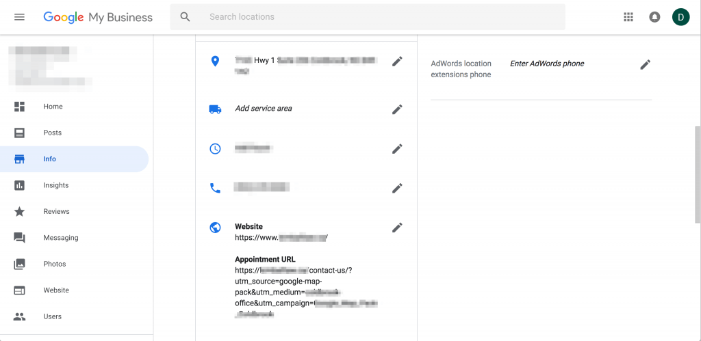 Example of Google My Business Dashboard