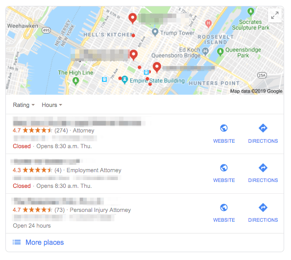 Example of Google Map Pack top 3 listings