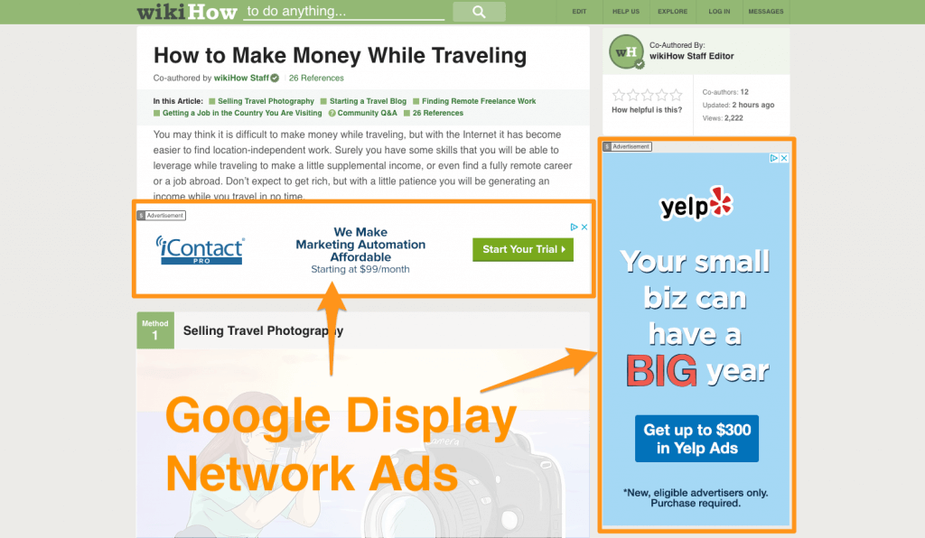 Screenshot of wikihow and yellow arrows pointing at some Ads displayed by Google