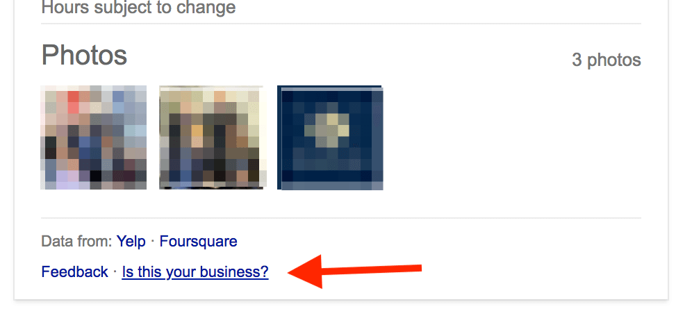 Example of the section for local business photos on Google My Business