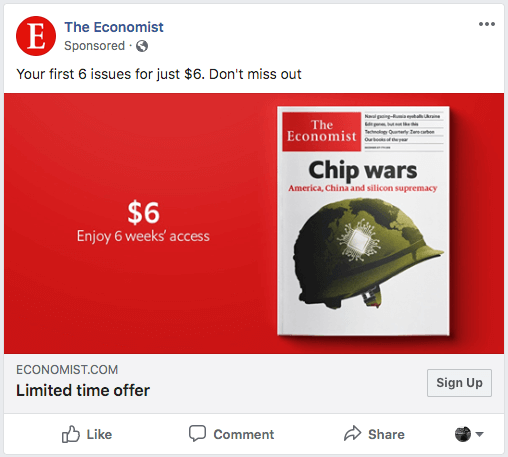 Example of a Facebook Ad from The Economist in the News Feed