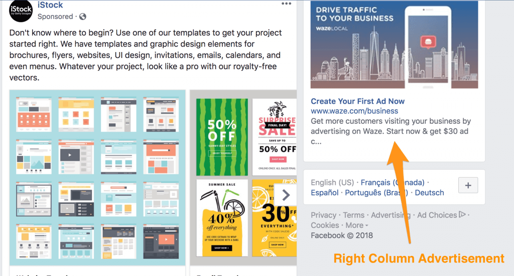 Examples of some ads in the News Feed and Sidebar on Facebook