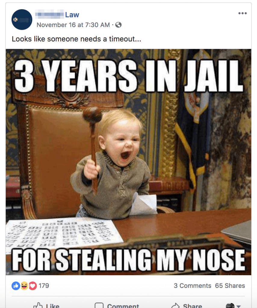 Meme where a baby is holding a law hammer