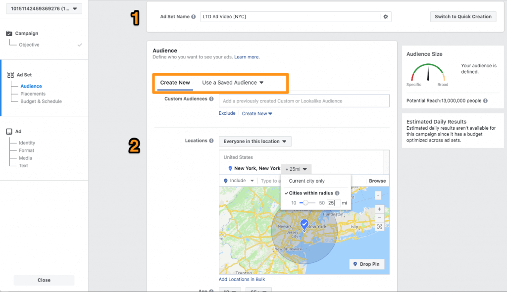 Setting a campaing on Facebook Ads and creating the audience