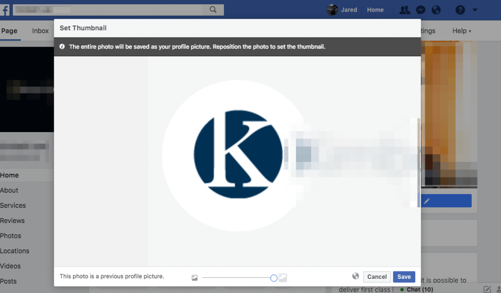 Example of uploading a logo to a Business Page in Facebook