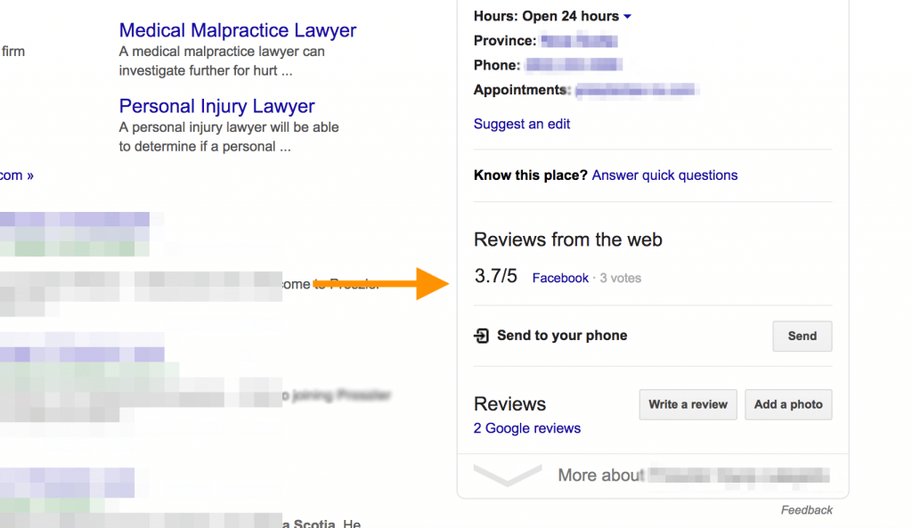 Example of Google My Business listing that explains what reviews from the web mean