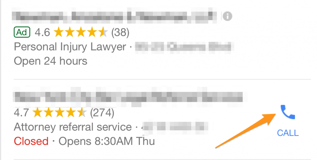 Example of a Google My Business listing with a yellow arrow pointing at a phone icon