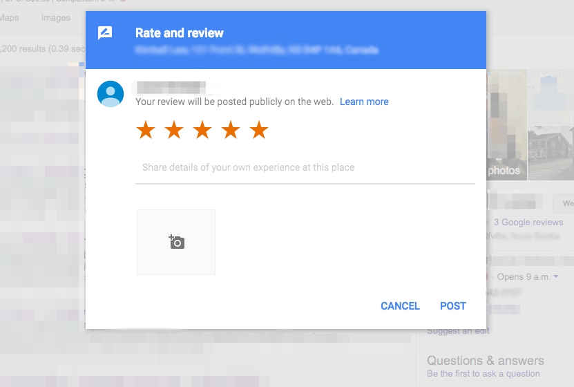 Example of screen to leave a Google Review