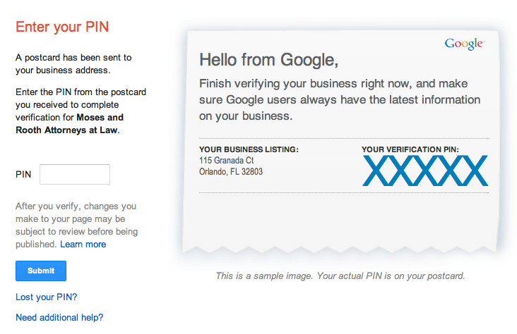 Example of a postcard with pin to verify Google My Business account